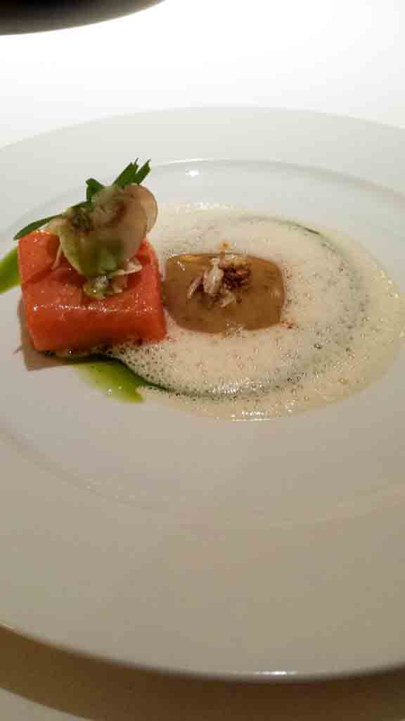 Wild salmon with cream of rye bread, horseradish foam and yarn wheat